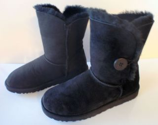 UGG Australia Womens Bailey Button BLACK Boots 5803 BLK Sz 9 W