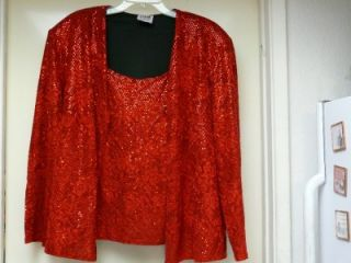 Richards Red Sequined Long Sleeve Shirt Background Floral Design