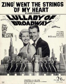 Doris Day Gene Nelson 1951 Movie Lullaby of Broadway British Sheet