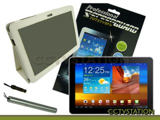 Leather Case Stand+Screen Protector+Stylus for Samsung Galaxy Tab 10.1