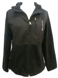 Free Country Authentic Lifestyle Womens Black Hooded Fleece Jacket