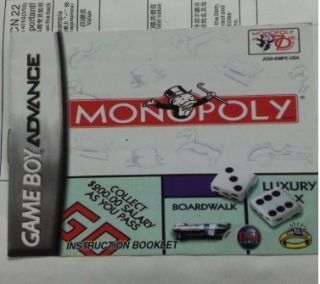 Classic Monopoly Gameboy Advance SP DS GBA Game Boy Games