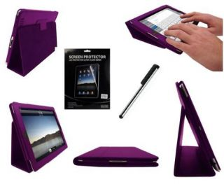 Apple iPad 2 Purple Leather Flip Case Cover Typing Stand