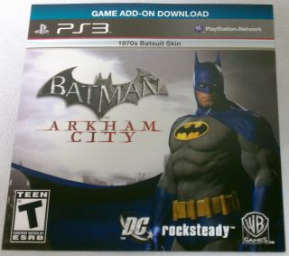 City 1970s Batsuit Skin PlayStation 3 PS3 Game Add on