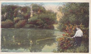Galva IL Illinois Fishing Scene 1900s Lake Postcard