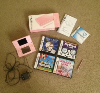 Pink Nintendo DS Lite Game System 4 Games Super Mario Bros Brain Age