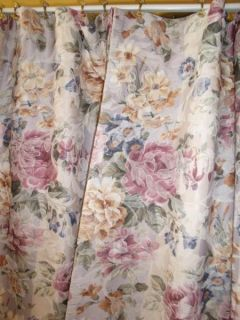 Vintage French Country Victorian Chic Floral Stripe Drapes Curtains