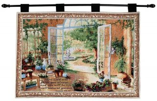French Doors Garden Room Tapestry Wall Hanging w Verse