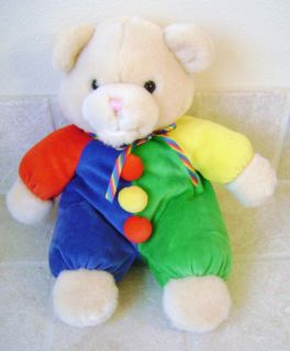 Baby Ganz Cream Plush Teddy Bear Primary Colors Pajamas