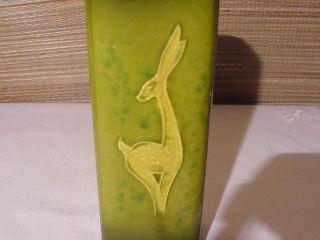Deco Mid Century Modern Art Pottery Gazelle Vase Green