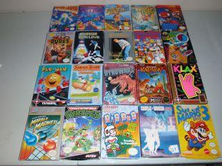 Lot of 20 Boxed Nintendo Games Super Mario 3 TMNT Tetris Klax More