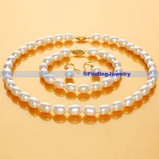 Freshwater White Pearl Necklace Earrings Bracelet Set AAA Service