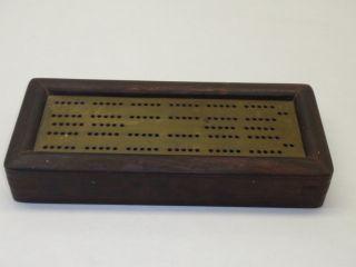 Wood and Brass Cribbage Board Hardware Game Set Kit Holder Box