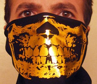 Reflective Gold Skull Black Bandana Face Mask Bling Grill Gangster
