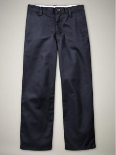 NWT KIDS GAP BOYS SHIELD FLAT FRONT NANOTEX UNIFORM PANTS navy blue