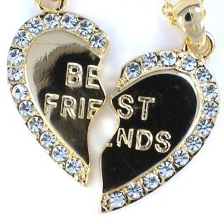 Friend Gold Tone Crystal 2 Pendants 2 Necklaces BFF Friendship