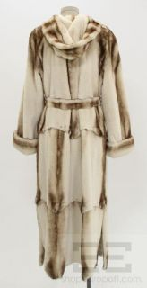 Garber Furs Designer Cream Brown Sheared Mink Full Length Belted Coat