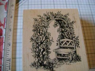 PSX K 1792 Rose Garden Lattice Trellis Arbor Bench Rubber Stamp USA