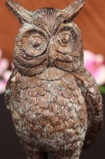 Vienna Bronze Garden Wise Owl Bird Statue Yard Art Deco Marble Base