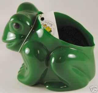 Vinyl Frog Planter Flower Pot Bright Green Plant Garden