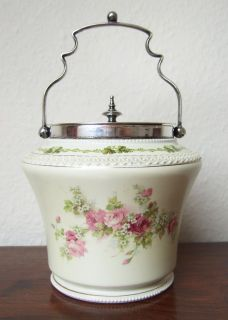 George Jones Sons English Biscuit Barrel Floral Rose Decoration