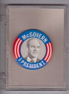 red white + blue 1 3/4 George McGovern for President political pin