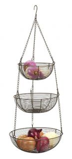 new bronze 3 tier hanging woven wire fruit basket