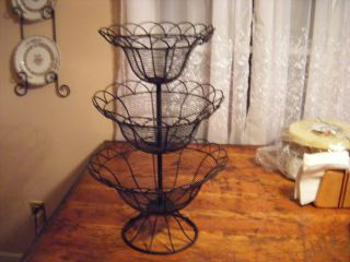 French Country 3 Tiered Metal Fruit Basket