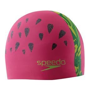Competition Speedo Silicone Swim Cap Fruit Punch Watermelon NEW