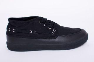 New Mens Generic Surplus Black Mid Deck Classic Leather Boat Shoes