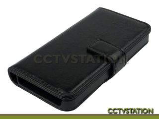 Black Leather Wallet Case Folding Stand Cover ID Slot for Apple iPhone