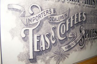 Primitive Country Coffee Teas Spices Tin Sign Kitchen wall Decor