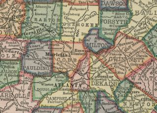 Georgia Map Authentic 100 Years Old Counties Cities Towns Topography
