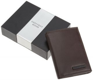 Geoffrey Beene $39 Men Brown Leather Trifold Credit Card Wallet 0091