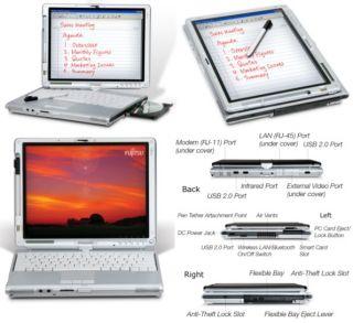 Fujitsu LifeBook Tablet Laptop T4220 Core 2 Duo 2 2GHz 2GB Stylus Pen