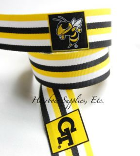Georgia Tech Yellow Jackets 1 inch 3 Yards Grosgrain Ribbon Collegiate