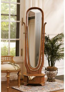 English Style Solid Hardwood Beveled Glass Full Length Mirror