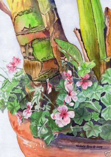 Beautiful Watercolor Painting Geraniums and Flowers Pot