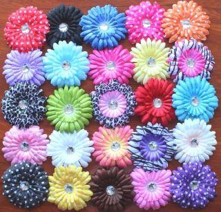 20pc 4 Gerbera Daisy Flower Baby Hair Bow Headband Hat