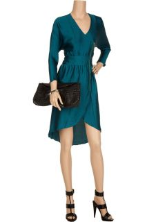 Geren Ford Teal Asymetrical Silk Zipper Party Dress Size s or M New $