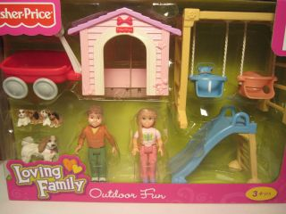 OUTDOOR FUN Slide Swing Dog Fisher Price Loving Family Dollhouse New
