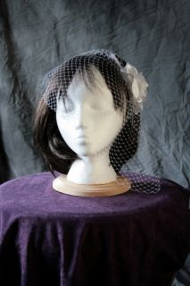 COMES IN THREE COLORS birdcage veil with handmade satin flower black