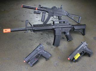 New Lot 4 Spring Airsoft Guns Combo M16 Rifle Pistol Handgun Air Soft