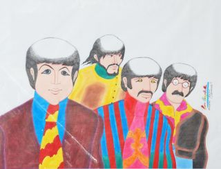 Original Ron Campbell Drawing of The Beatles Yellow Submarine One of A