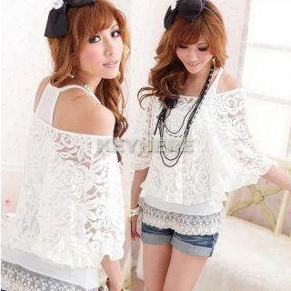 Lace Top Ladies Off Shoulder T Shirt 3Size M L XL K0E1 Womens White 2