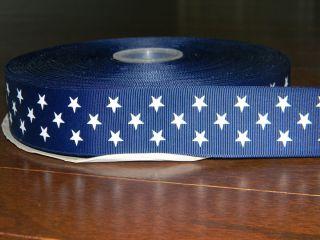 Grosgrain Ribbon* 3 yards Navy Blue w Stars 1.5 1 1/2 in Hair Bow