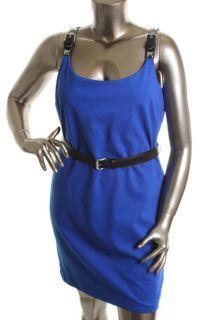 Michael Kors New Blue Sleeveless Buckle Strap Knee Length Belted