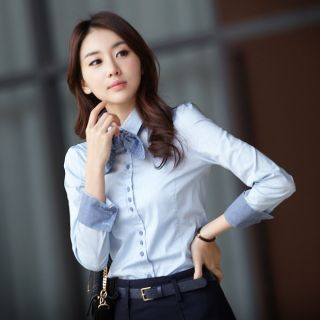 Professional Women Top Shirt Blouse Button Down Office