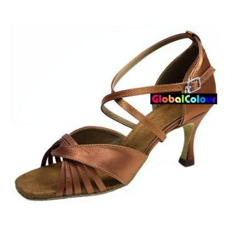 GC Tan Satin Latin Ballroom Salsa Dance Shoes All Sizes C600