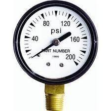 Pressure Gauge 0 200lb PSI Air Steam Water Pumps Well Systems Air